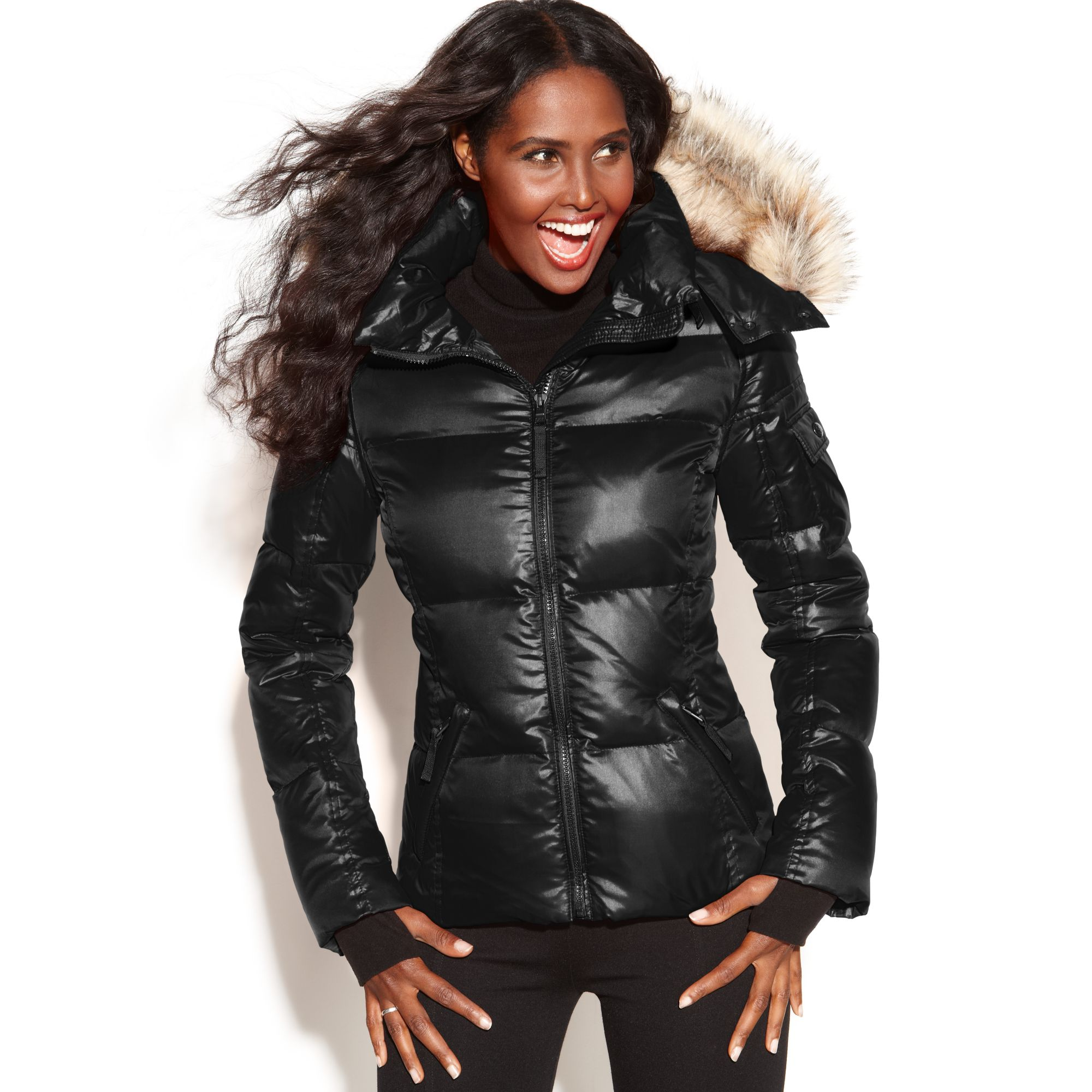 Sam Hooded Faux Fur Trim Quilted Puffer In Black Lyst