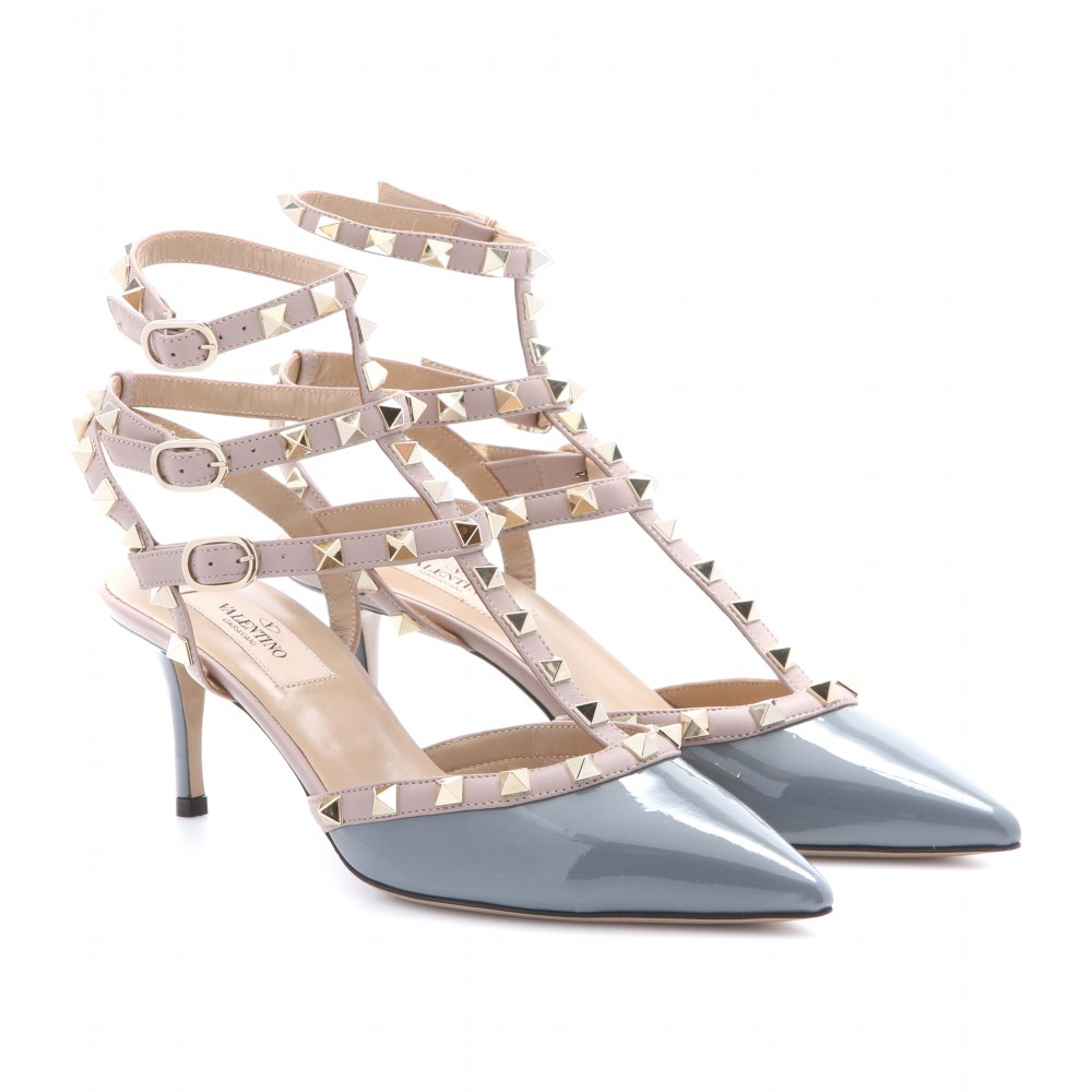 valentino rockstud patentleather kitten heel pumps in gray lyst. Black Bedroom Furniture Sets. Home Design Ideas