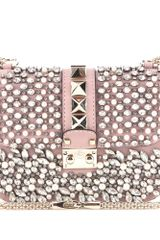 Valentino Lock Small Embellished Leather Shoulder Bag - Lyst