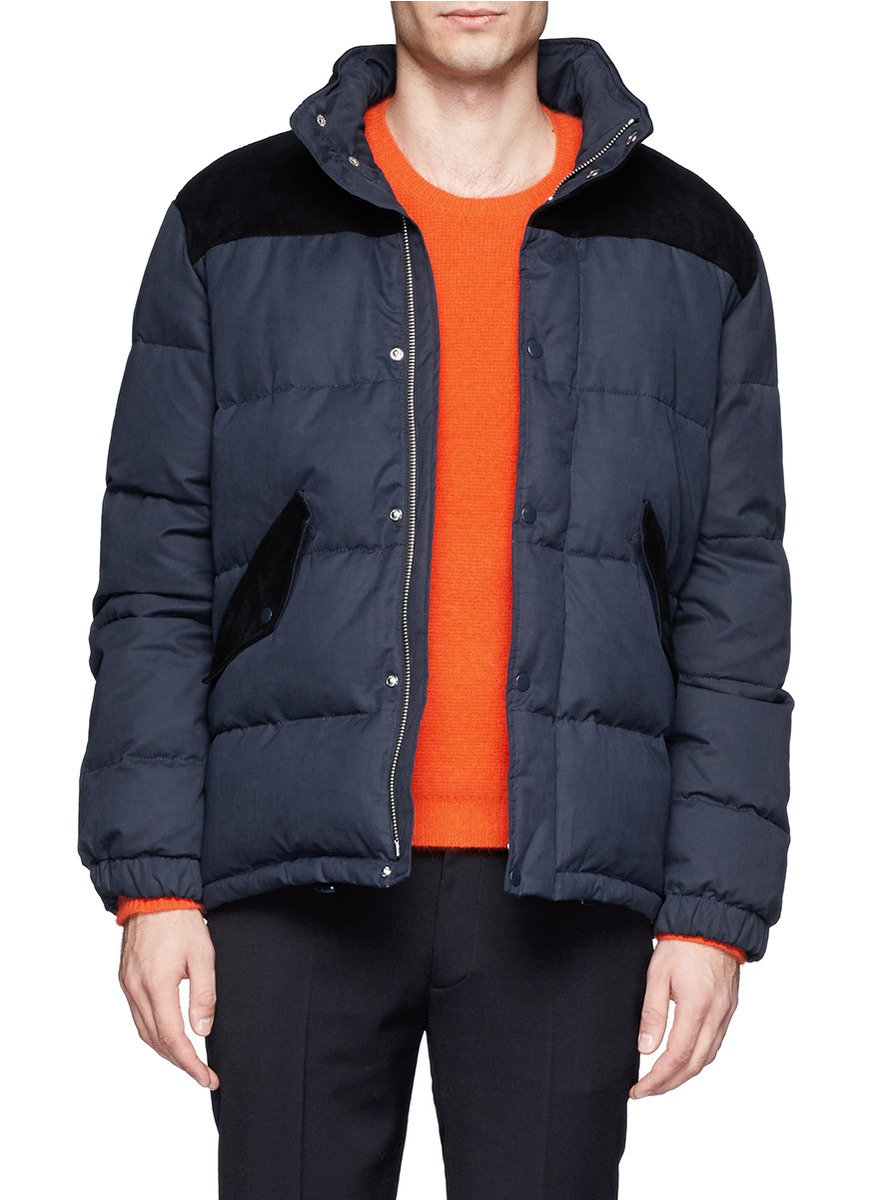 Acne Studios Suede Trim Puffer Down Jacket in Blue for Men ...
