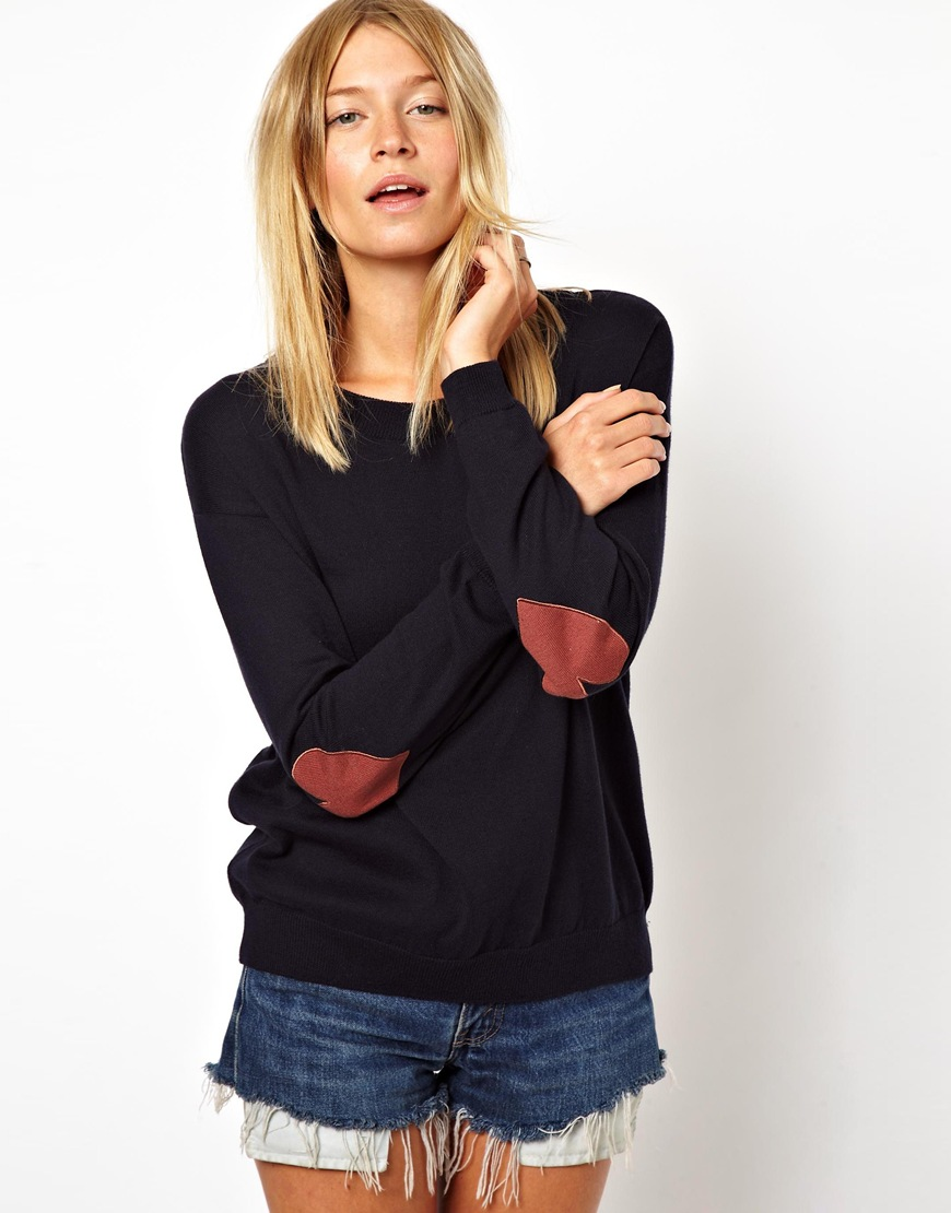 Lyst Asos Heart Elbow Patch Sweater In Blue