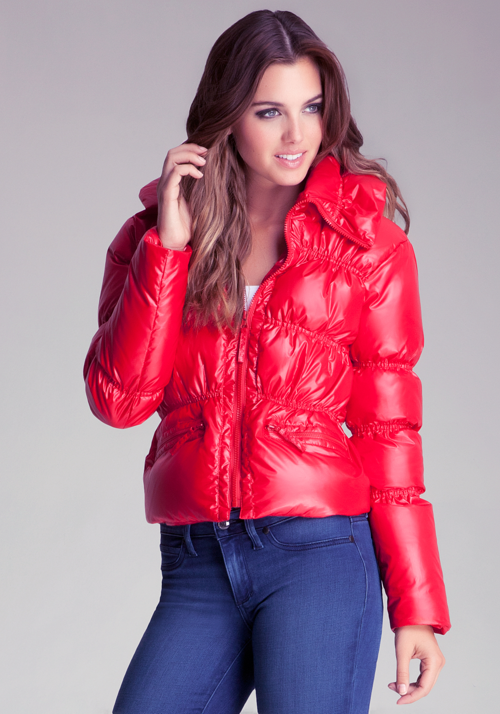 Bebe Shine Puffer Jacket In Red Lyst