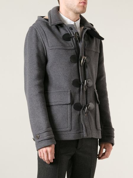 burberry brit montgomery duffle coat in gray for men grey. Black Bedroom Furniture Sets. Home Design Ideas