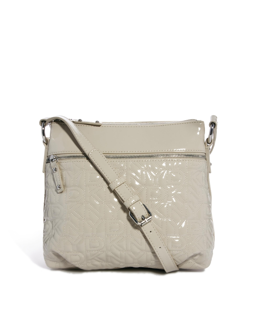 dkny active quilted logo crossbody bag in gray 270chino