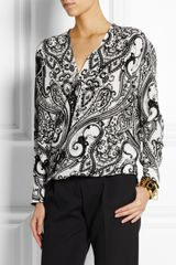 Etro Printed Wrapfront Silk Top - Lyst