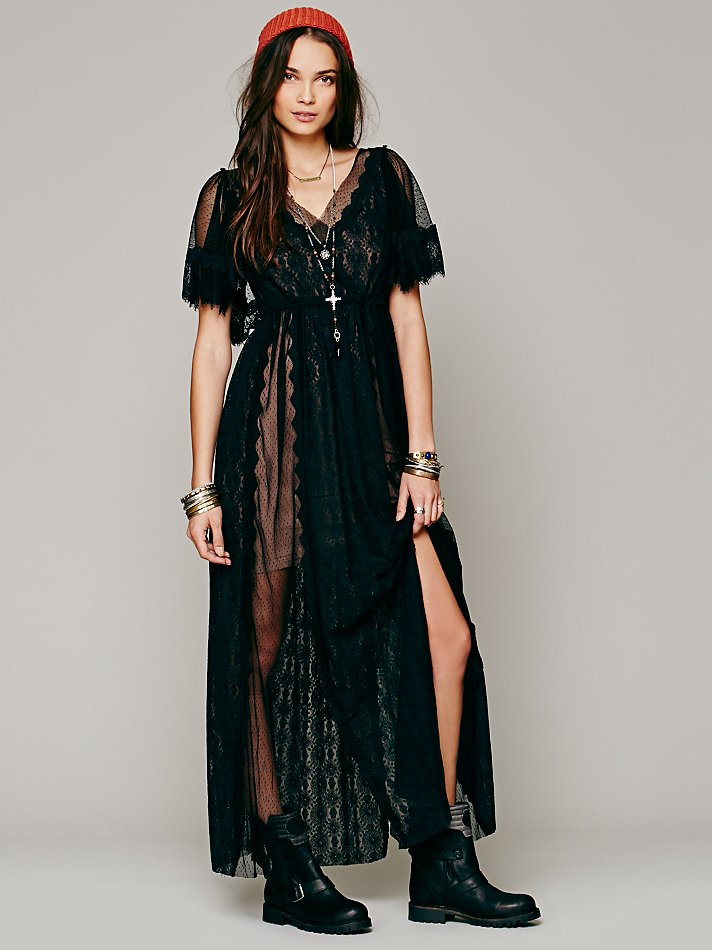 Lyst Free People Witchy Woman Maxi Dress In Black