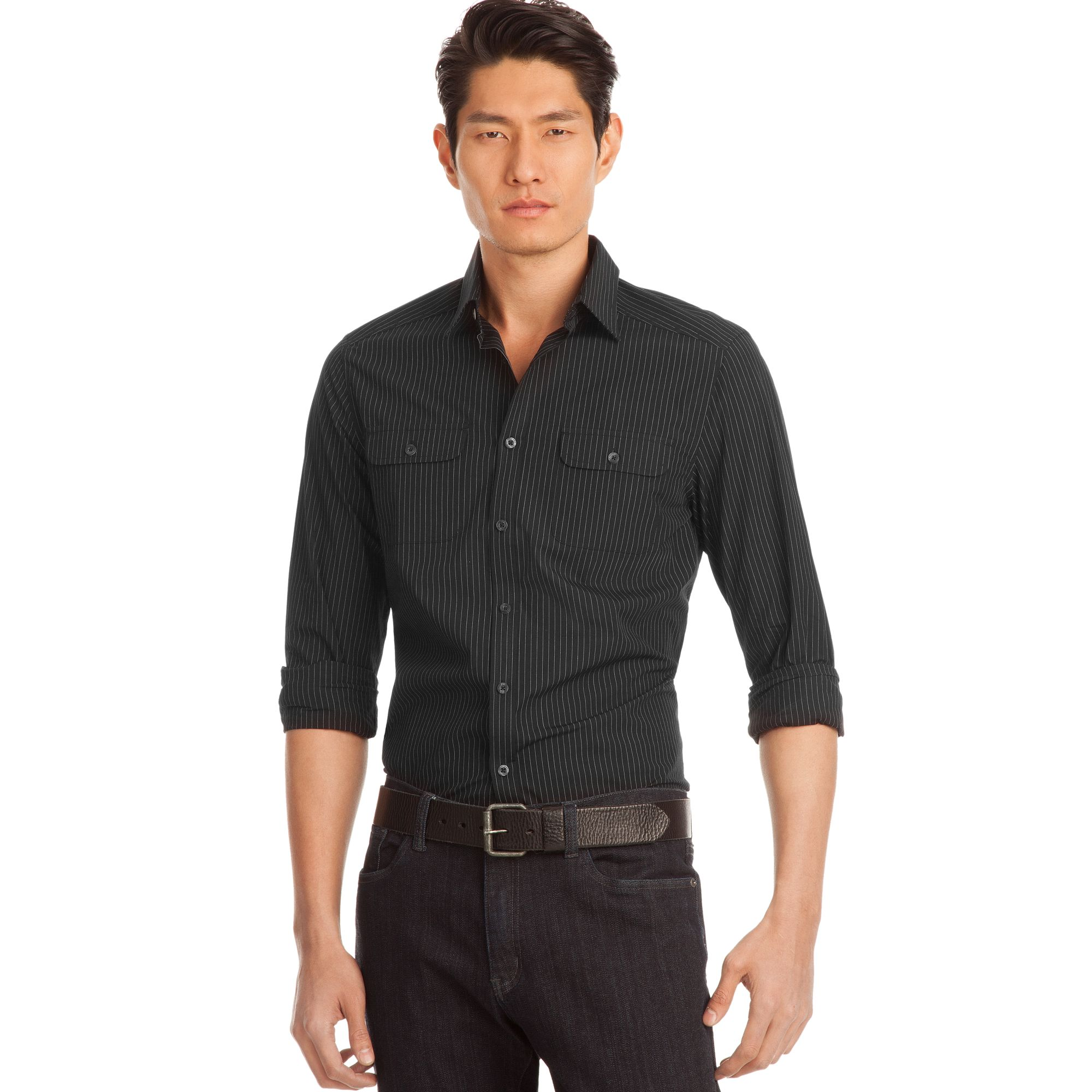 Kenneth Cole Reaction Double Pocket Pinstriped Dress Shirt ...