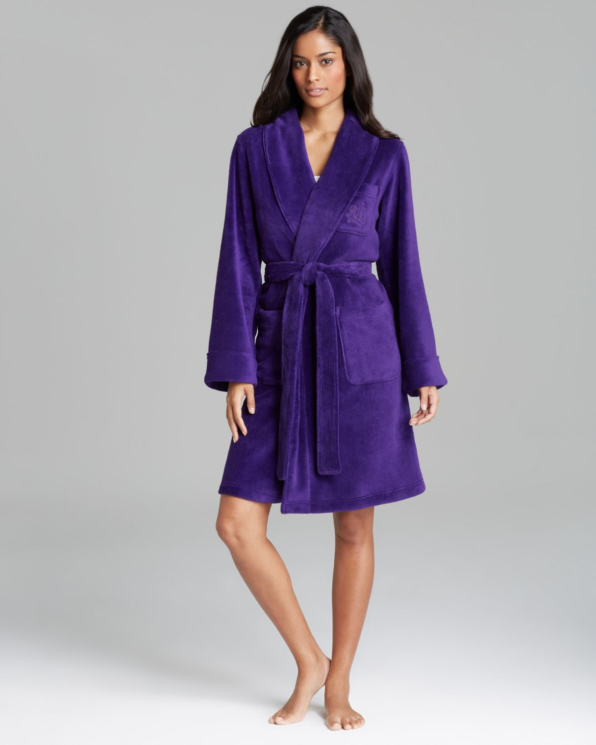 lauren by ralph lauren plush robe in purple lyst. Black Bedroom Furniture Sets. Home Design Ideas
