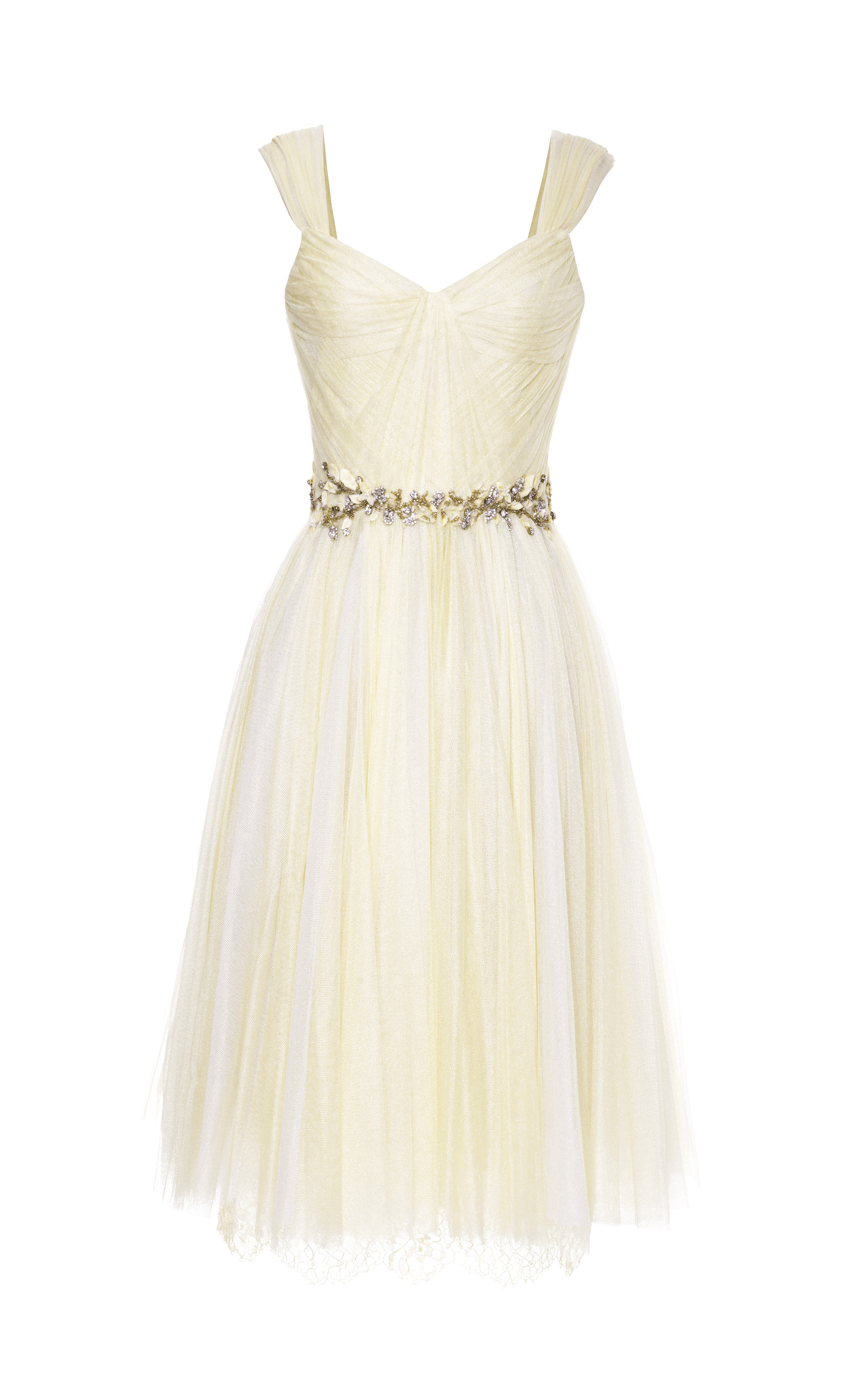 Marchesa Daffodil Chantilly Lace and Tulle Cocktail Dress