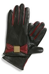 Ted Baker Bow Leather Tech Gloves - Lyst