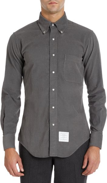 thom browne snap button corduroy shirt in gray for men ForMens Shirts With Snaps Instead Of Buttons