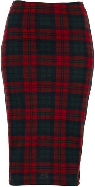 Topshop Check Print Tube Skirt - Lyst