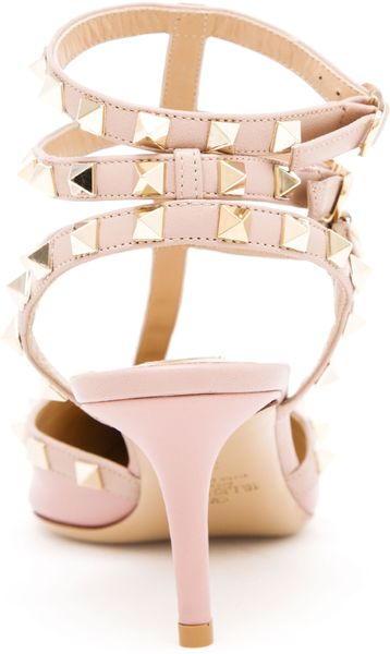 Valentino Rock Studded Leather Kitten Heels In Pink Lyst