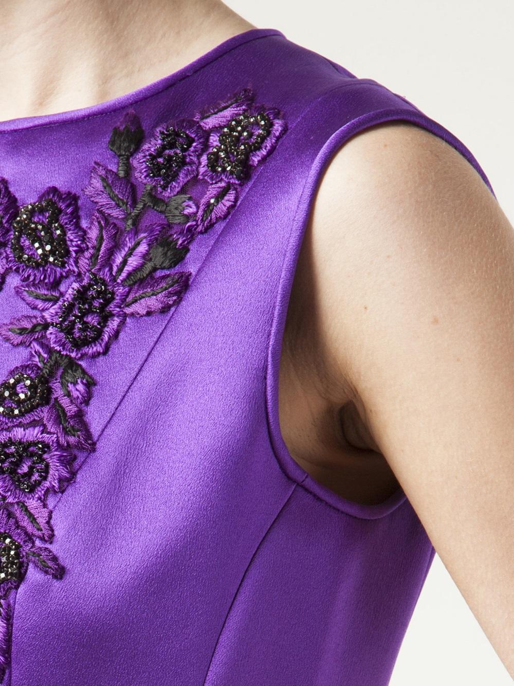 Lyst Alberta Ferretti Crew Neck Flare Dress In Purple