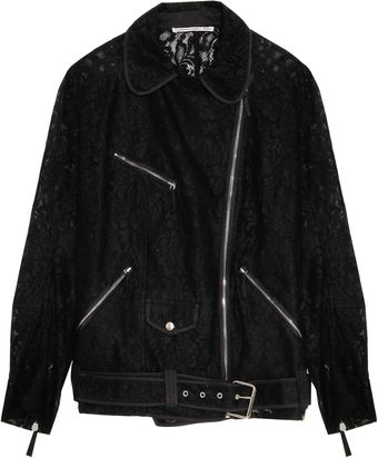 Alessandra Rich Black Lace Biker Jacket - Lyst