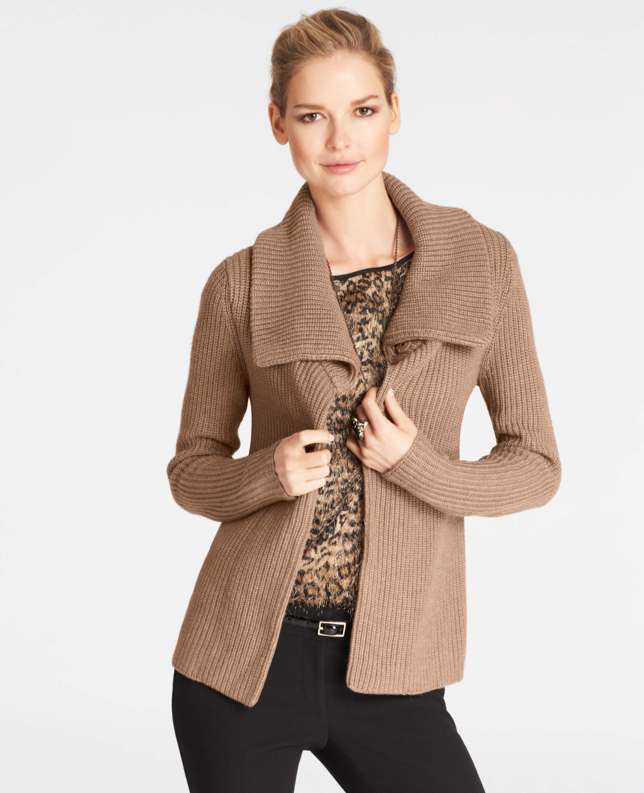 Ann taylor Wool Blend Ribbed Sweater Jacket in Brown | Lyst