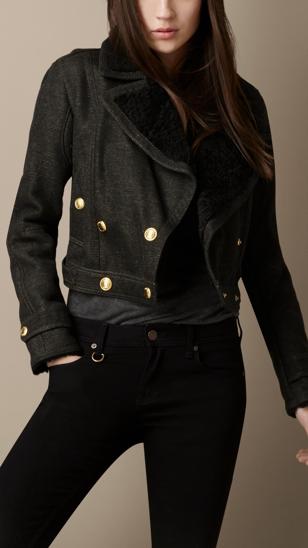 Burberry Cropped Shearling Trim Military Jacket In Green