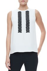 Derek Lam Sleeveless Embroidered Blouse Ivory - Lyst