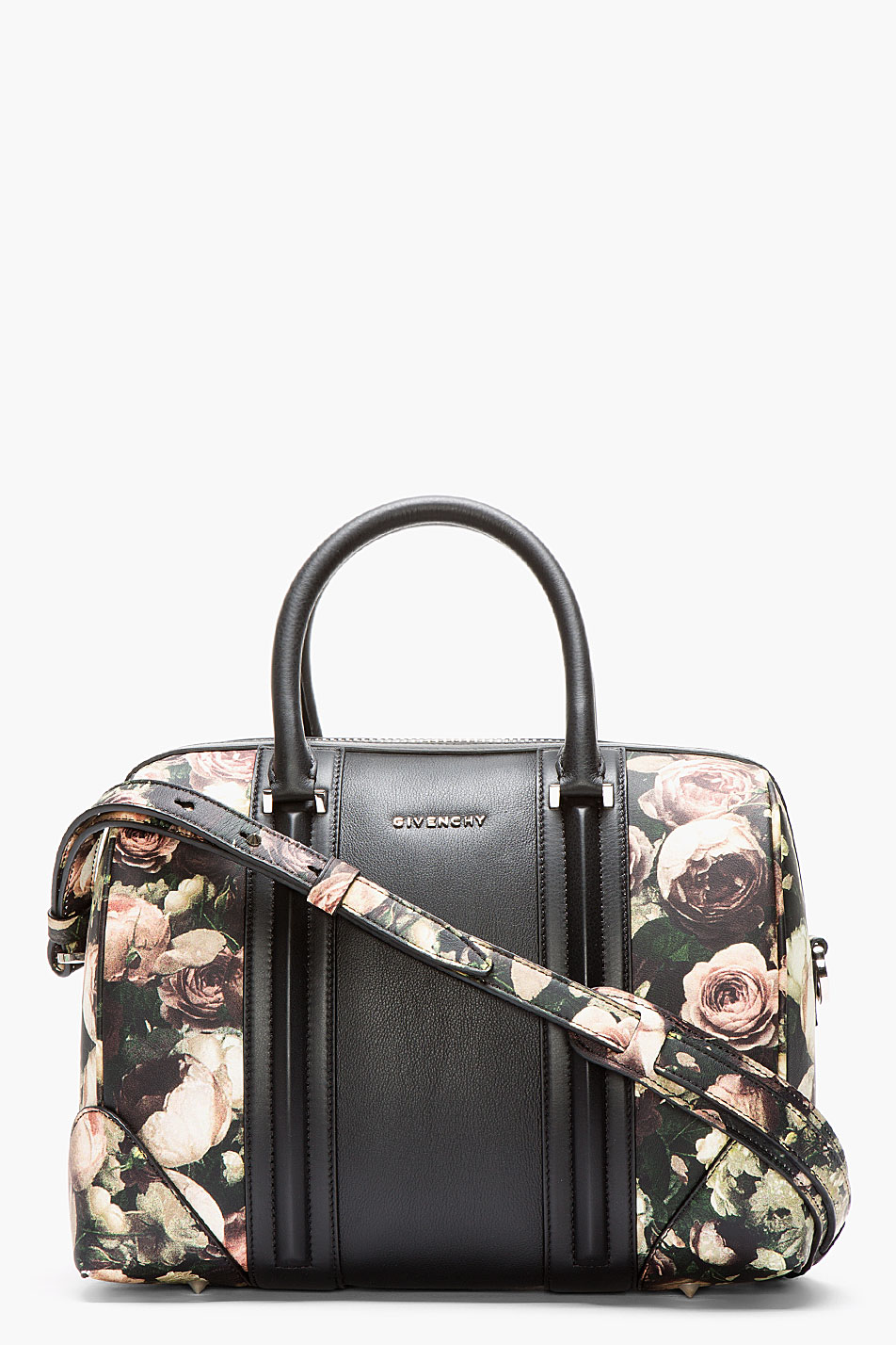 37119dbd0c Lyst - Givenchy Black Leather Floral Lucrezia Duffle Bag in Black