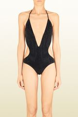 Gucci Black Deep V-neck One-piece Swim Suit - Lyst