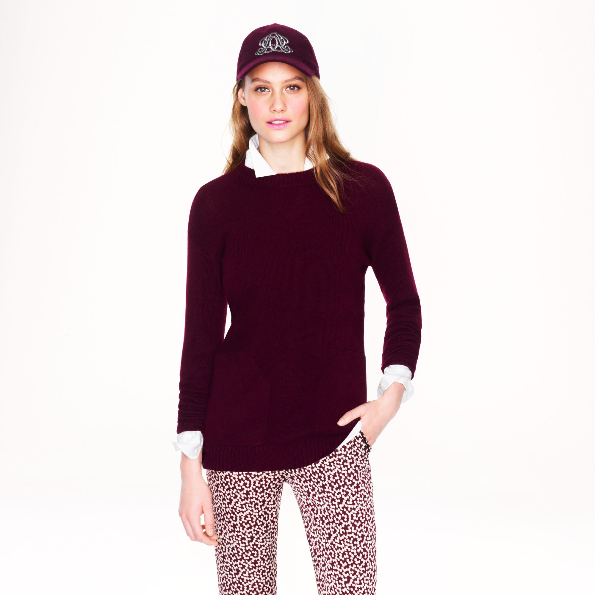 J.crew Cashmere Pocket Sweater in Red | Lyst