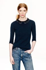 J.Crew  Cashmere Jeweled Collar Sweater - Lyst