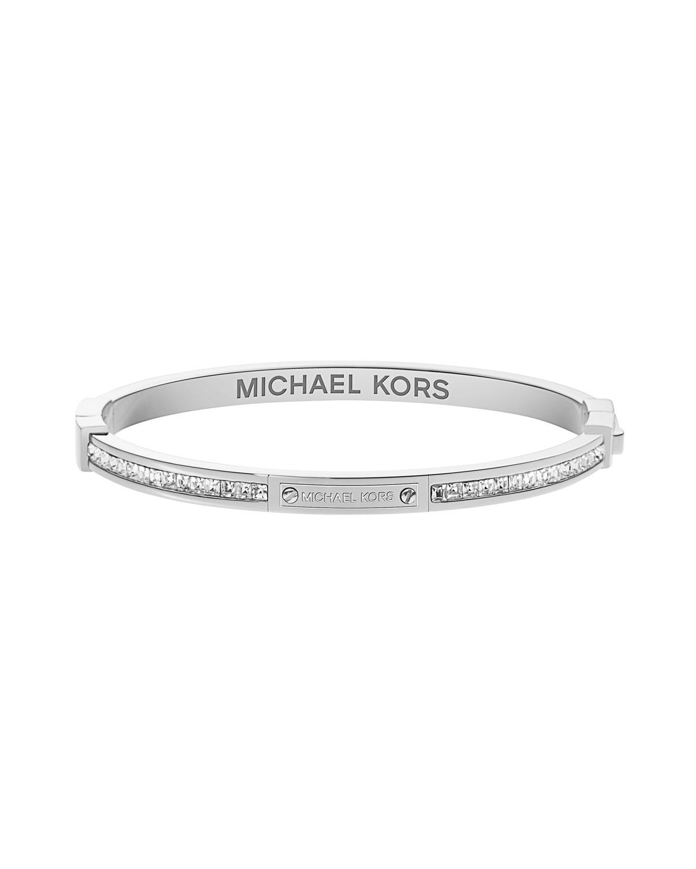 michael kors thin pave hinge bracelet silver color in. Black Bedroom Furniture Sets. Home Design Ideas
