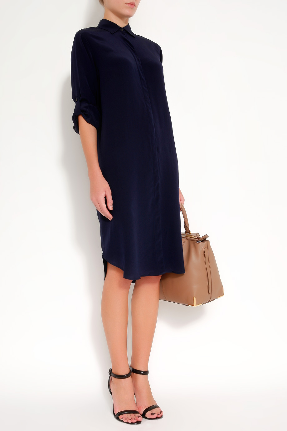 Lyst Mih Jeans Silk Shirt Dress In Blue