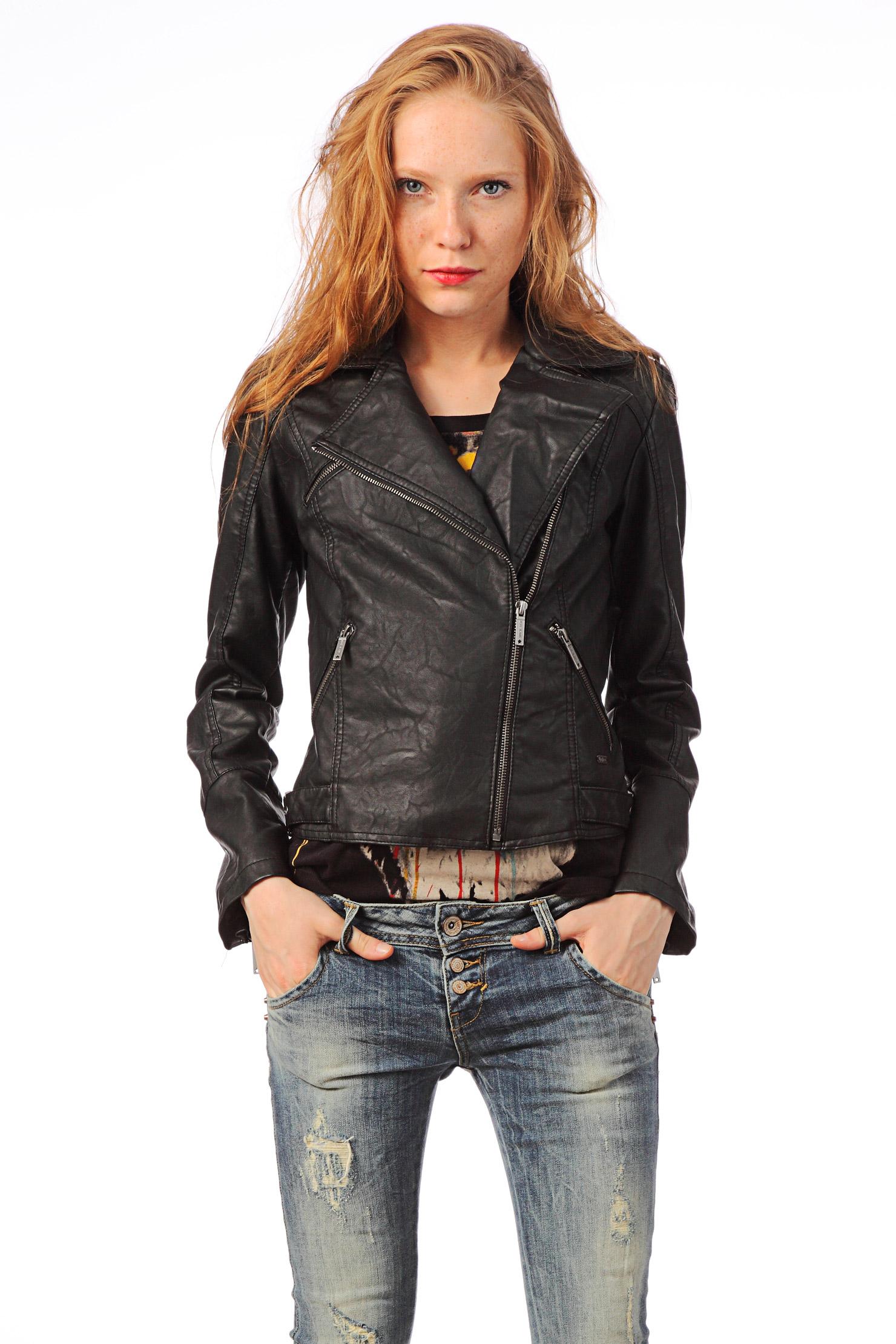 pepe jeans leather jacket pap in black lyst. Black Bedroom Furniture Sets. Home Design Ideas