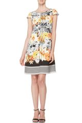 Piazza Sempione Floral Dress with Striped Hem Yellowblack - Lyst