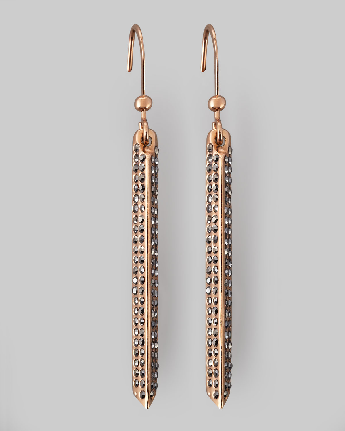 Rebecca Minkoff Pave Crystal Bar Drop Earrings in Gold ...