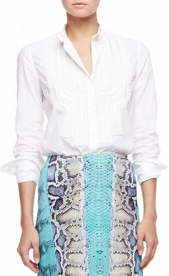Roberto Cavalli Embroidered Bib Poplin Blouse White - Lyst