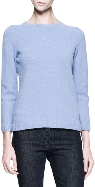 The Row Chambray Crewneck Cashmere-Merino Pullover Sweater - Lyst