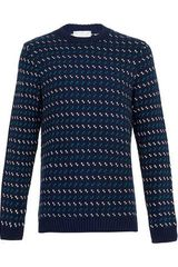 Topman Navy Dash Pattern Jumper - Lyst