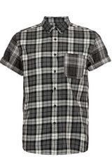 Topman Grey Mixed Checks Short Sleeve Shirt - Lyst