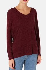 Topshop Long Sleeve Textured Top - Lyst
