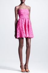 Valentino Short Strapless Lace Dress Fuchsia - Lyst