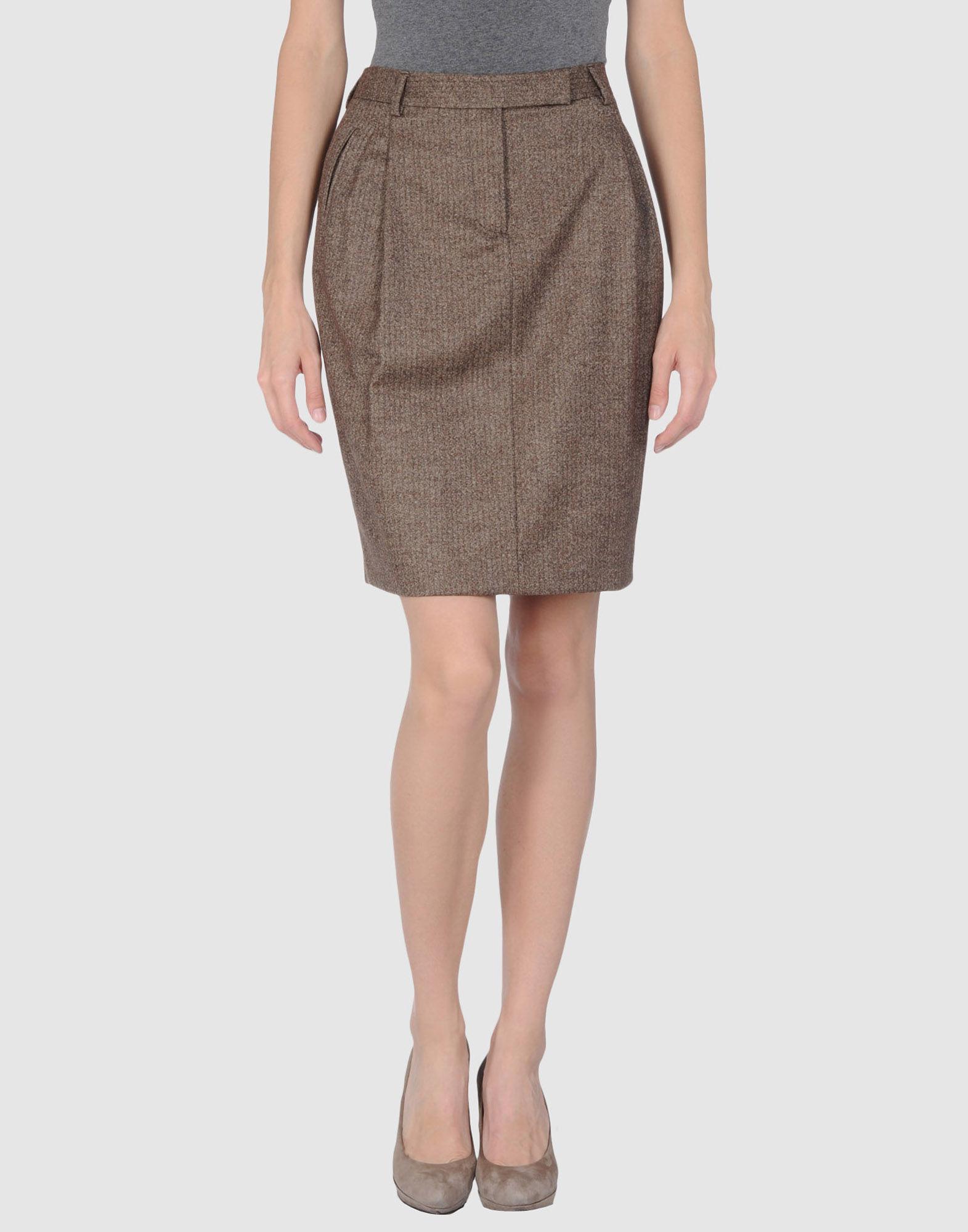 alberto biani knee length skirt in khaki lyst