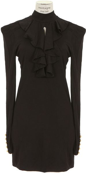 Balmain Black Long Sleeves Thick Jersey Dress - Lyst