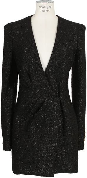 Balmain Irisé Black Draped Dress - Lyst