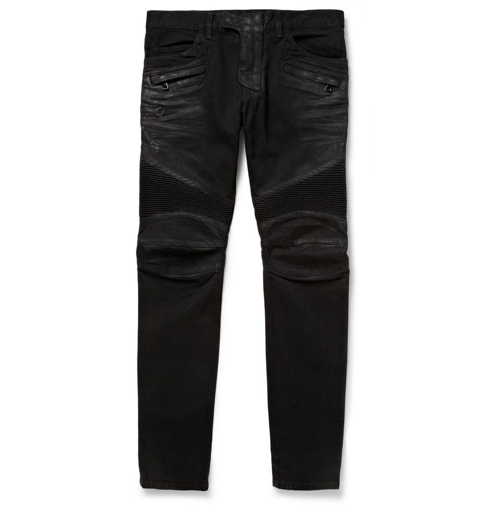 c030649a399 Lyst - Balmain Slim-fit Distressed Denim Jeans in Black for Men