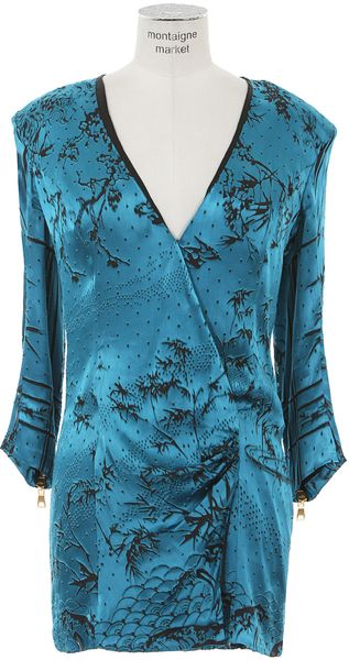 Balmain Peacock Blue Draped Silk Dress - Lyst