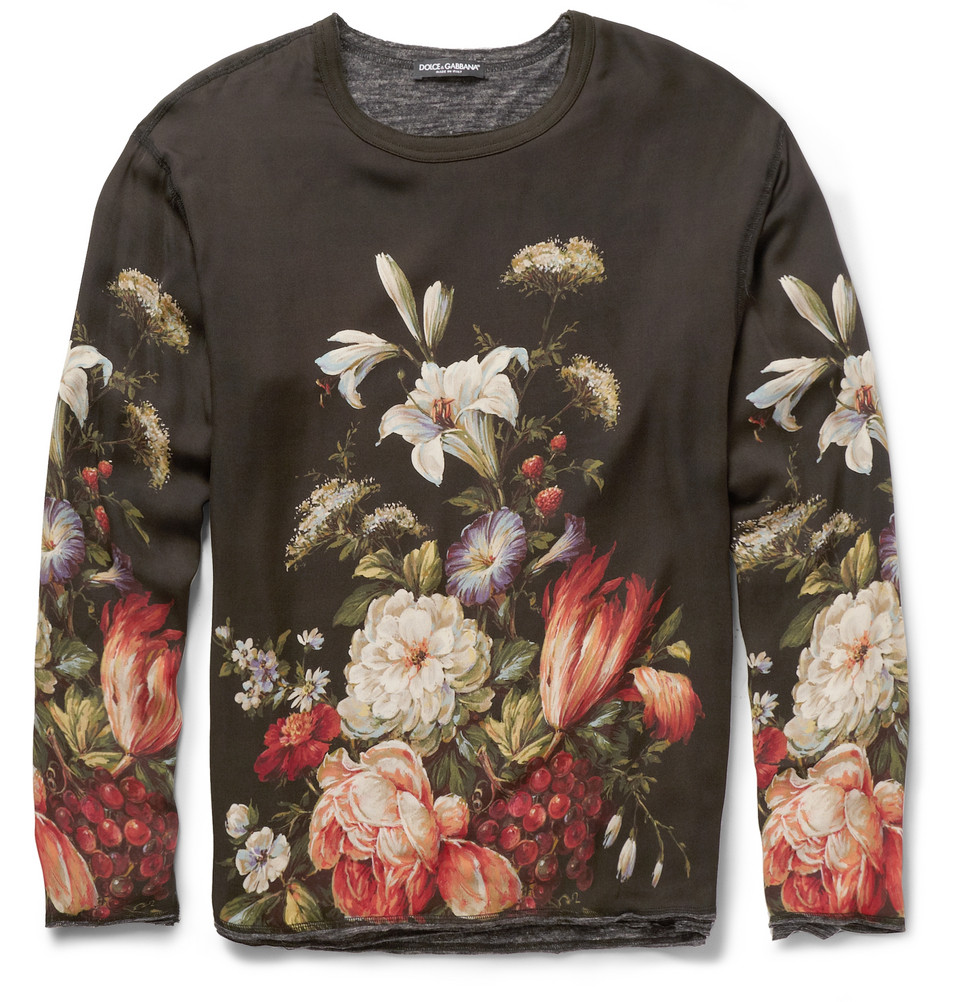 Dolce gabbana oversized jerseylined printed silk tshirt for Dolce and gabbana printed t shirts