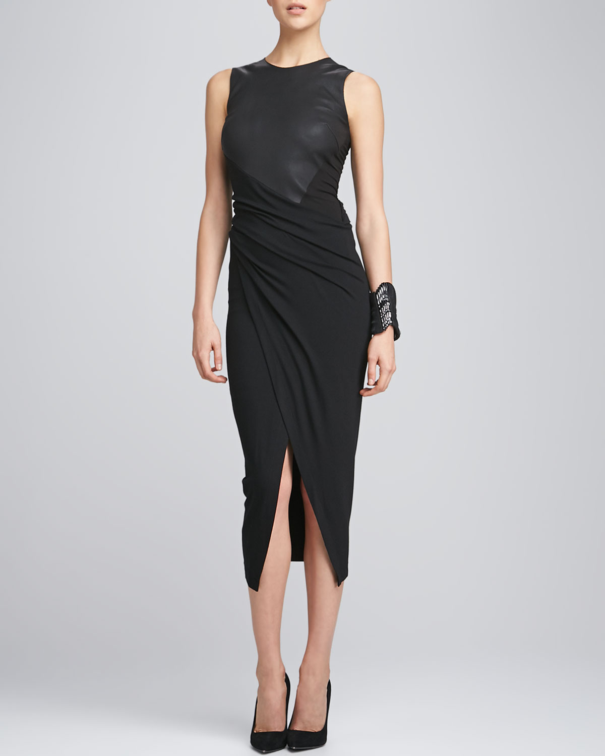 Donna karan new york sleeveless leather draped jersey for Donna karen new york