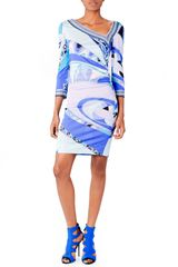 Emilio Pucci Asymmetric Printed Jersey Dress Blue - Lyst