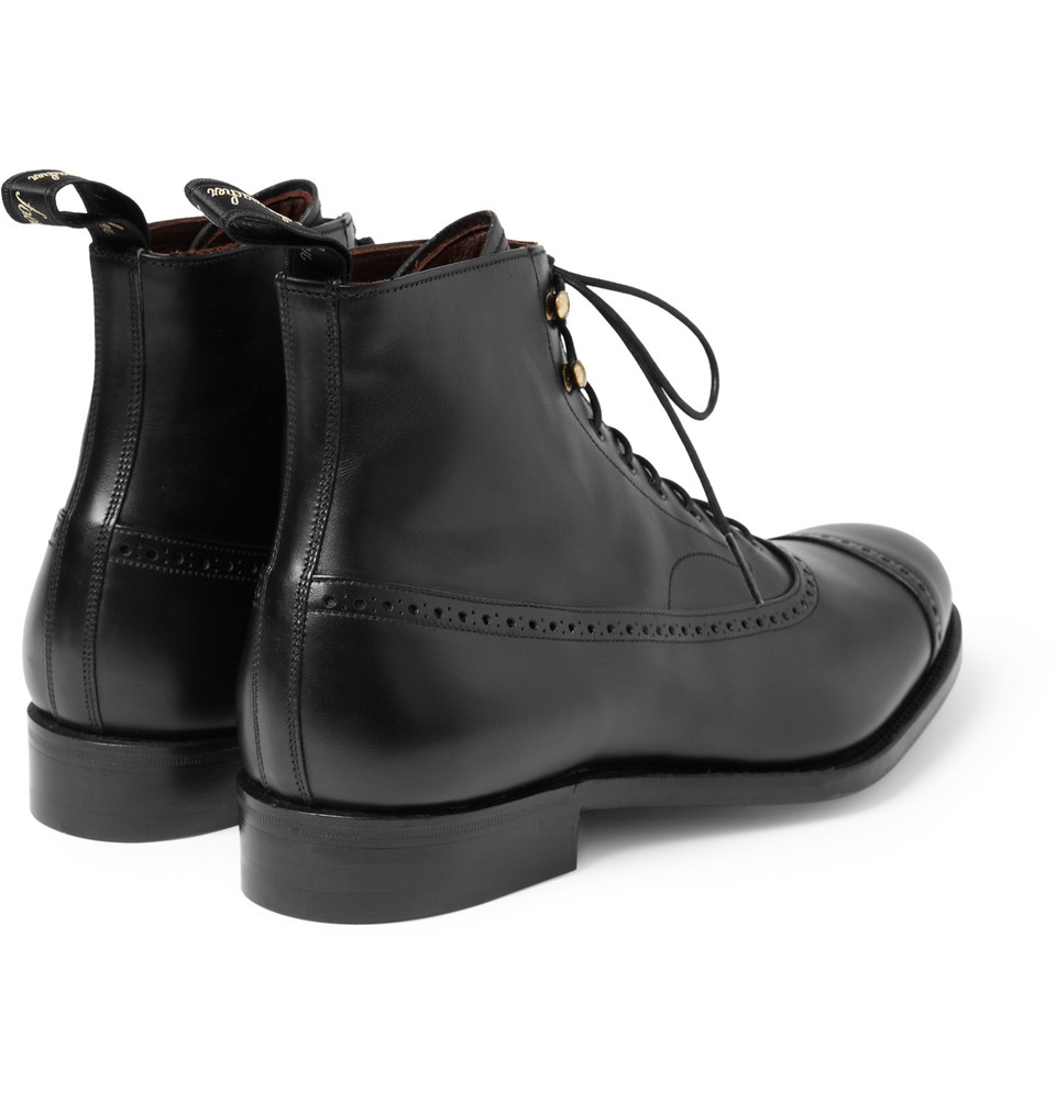 Grenson Balmoral Leather Oxford Brogue Boots In Black For Men Lyst