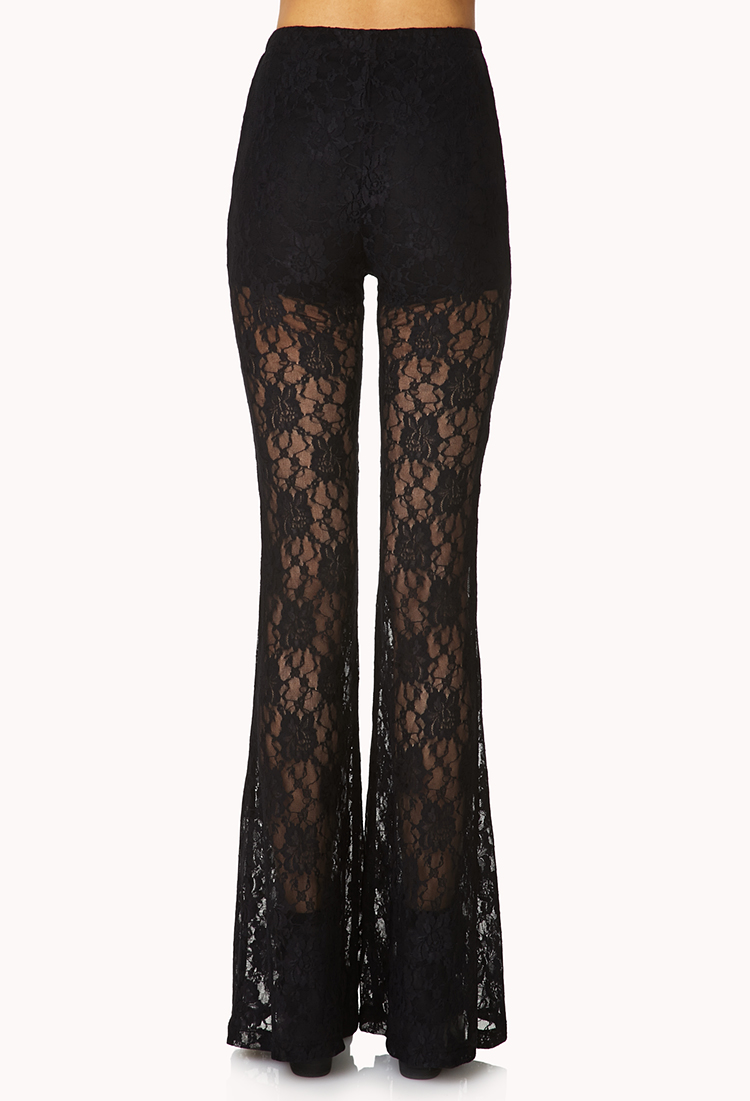 6a9641047b2bd Lyst - Forever 21 Bombshell Lace Bell Bottoms in Black