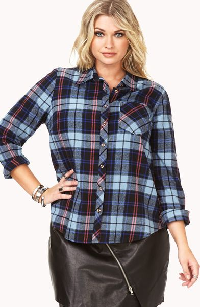 Forever 21 Rustic Plaid Flannel In Blue Black Grey Lyst