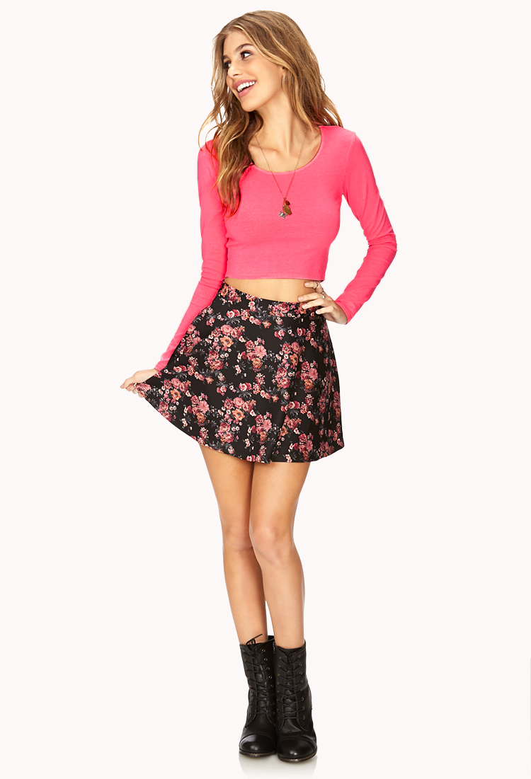 f89de16784b08 Forever 21 Long Sleeve Crop Top in Pink - Lyst