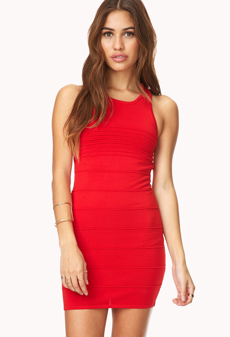 Forever 21 Bold Bodycon Dress in Red | Lyst